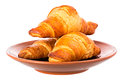 Fresh croissants isolation on a white background with clipping paths increase focus zone folding multiple photos Stock Images