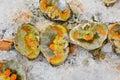 Fresh crustacean eggs on ice sale in market the Stock Image