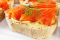 Fresh crusty olive bread topped mustard mayonnaise cold smoked salmon dill luscious treat Stock Images