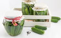 Fresh cucumbers in box prepared for jar Royalty Free Stock Photo