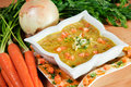 Fresh curry and carrot soup Stock Image