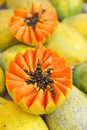 Fresh Cut Juicy Papaya Mamao Fruit at Brazilian Farmers Market Royalty Free Stock Photo