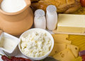 Fresh dairy products Stock Photos