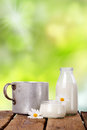 Fresh dairy products some jars with on old wooden table outside in garden Stock Photo