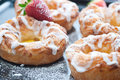 Fresh danish pastries filled vanilla cream Stock Images
