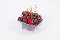 Fresh delicious cherries in a glass bowl Royalty Free Stock Photo