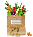 Fresh drawn food in a paper bag healthy diet Stock Photo