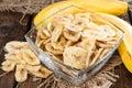 Fresh dried Banana Chips Royalty Free Stock Photo