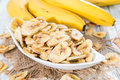 Fresh dried Banana Chips Royalty Free Stock Photo