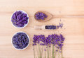 Fresh and dried lavender flowers Royalty Free Stock Photo
