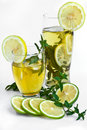Fresh drink with lemon and ment Stock Photo