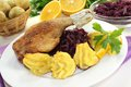 Fresh Duck drumstick with duchess potatoes Stock Image