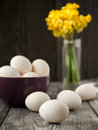Fresh ecological eggs bowl wooden table Stock Photography