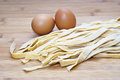 Fresh egg noodles homemade italian pasta Stock Image