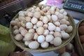 Fresh eggs at the market. Royalty Free Stock Photo