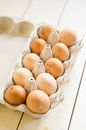 Fresh farm eggs chicken in a cardboard box Royalty Free Stock Photography