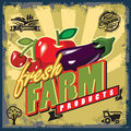 Fresh farm sign vector color vintage or poster Royalty Free Stock Images