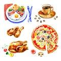 Fresh fast food watercolor set logo design template. Royalty Free Stock Photo