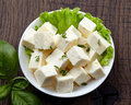 Fresh feta cheese on plate Stock Photography