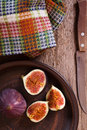 Fresh figs, old knife and  towel Royalty Free Stock Photo
