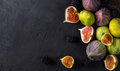 Fresh figs with slices Royalty Free Stock Photo