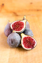 Fresh figs on wooden background Stock Photography