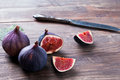 Fresh figs on the wooden table close up Stock Image