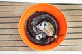 Fresh fish in bucket on a wooden floor Royalty Free Stock Photo