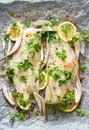 Fresh fish, cod fillets with parsley, lemon slices, onion and spices prepared for baking on parchment paper Royalty Free Stock Photo