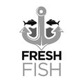 Fresh fish colorless logo with anchor and sea animals