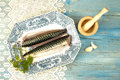 Fresh fish and ingredients decorated vintage Royalty Free Stock Image