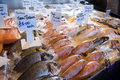 Fresh fish on market stall Stock Photo