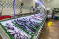 Fresh fish market wide selection of on sale at seafood Royalty Free Stock Photo