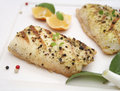 Fresh fish with pepper Royalty Free Stock Photography
