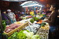 Fresh fish and vegetables offered bangkok dec at the night market in sukhumvit road at a foodstand on december in bangkok thailand Stock Images