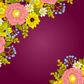 Fresh flower background with plants and flowers Stock Photo