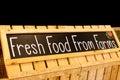 Fresh food from farms banner blackboard photograph.