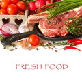 Fresh food raw meat and vegetables Stock Photos