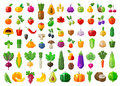 Fresh food. vegetables and fruits icons set Royalty Free Stock Photo