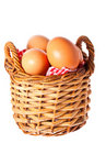 Fresh free range chicken eggs in a basket Stock Photography