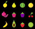 Fresh Fruit & berries icon set isolated on black Royalty Free Stock Image