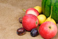Fresh fruit on on the burlap background Stock Photo