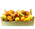 Fresh fruit in crates wooden crate full of Royalty Free Stock Photos