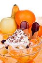 Fresh fruit with cream Royalty Free Stock Photo