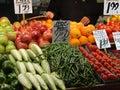 Fresh fruit on display at farmer's market Stock Photography