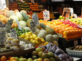 Fresh fruit on display at farmer's market Royalty Free Stock Images