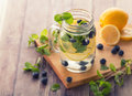 Fresh fruit Flavored infused water mix of blueberry, lemon and m Royalty Free Stock Photo