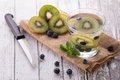 Fresh fruit Flavored infused water mix of Kiwi and bluberry Royalty Free Stock Photo