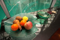 Fresh fruit on hallway office a glass plate in Royalty Free Stock Photos