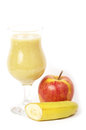 Fresh fruit juice cocktails with apple and banana Royalty Free Stock Photo